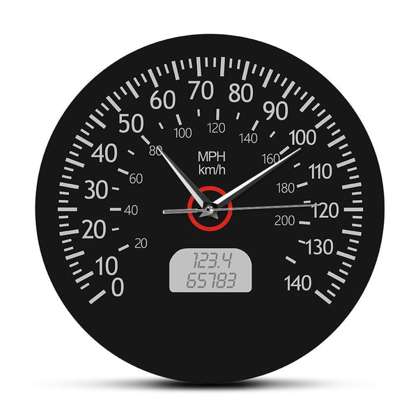 PILOTSX Wall Clock Speedometer Kilometers and Miles Printed Wall Clock