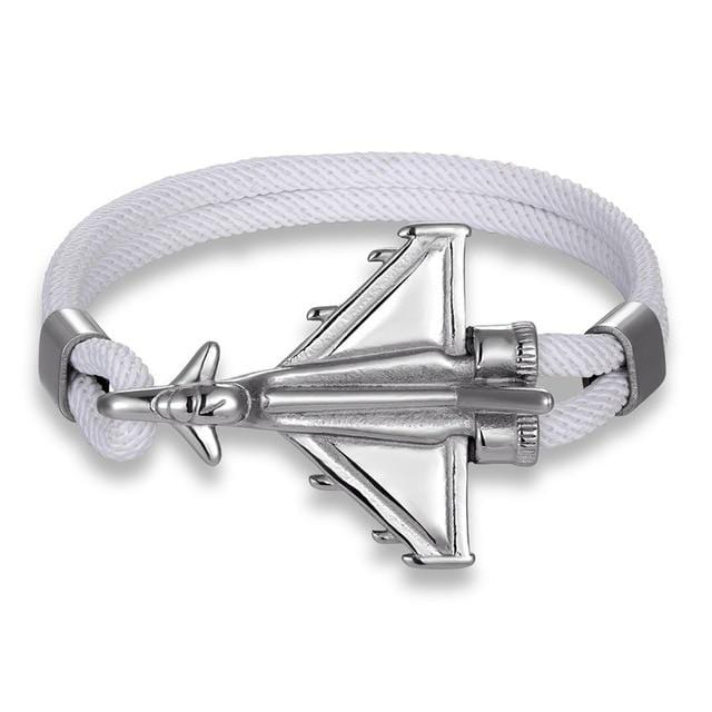 PILOTSX White D / 23cm Stainless Steel Jet Fighter Bracelets