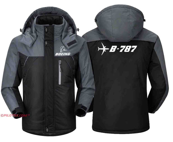 PILOTSX Windbreaker Jackets Black Gray / S B- 787 Aircraft Jacket