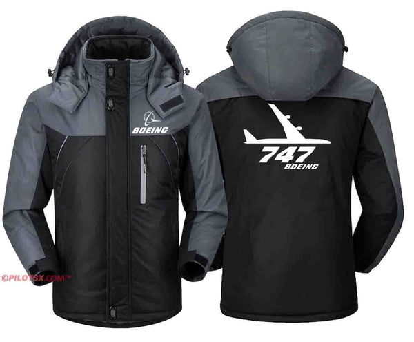 PILOTSX Windbreaker Jackets Black Gray / S Boeing-747 Side View Jacket
