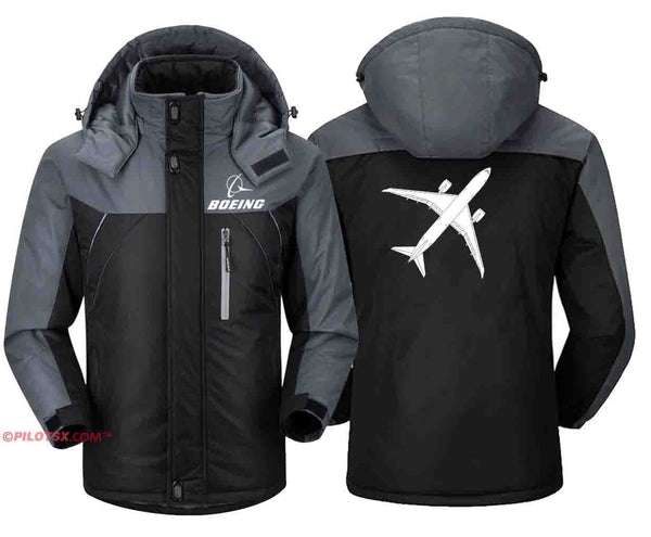 PILOTSX Windbreaker Jackets Black Gray / S Boeing- 787 Aircraft Jacket