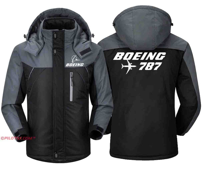 PILOTSX Windbreaker Jackets Black Gray / S Boeing 787 with Aircraft Jacket