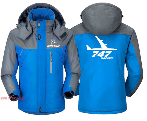 PILOTSX Windbreaker Jackets Red Gray / S Boeing-747 Side View Jacket