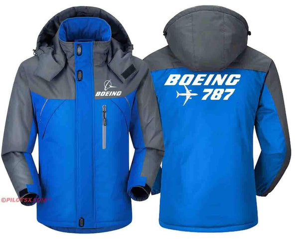 PILOTSX Windbreaker Jackets Red Gray / S Boeing 787 with Aircraft Jacket