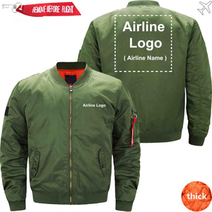 PilotX Jacket Army green thick / S Custom Airline Logo Jacket Jacket -US Size