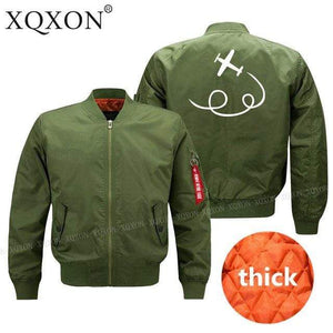 PilotX Jacket Army green thick / S personality airplane design Jacket -US Size