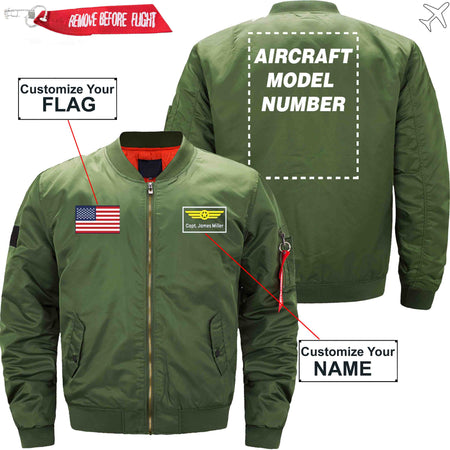 PilotX Jacket Dark blue thick / S Custom Flag & Name with Aircraft Model Number Jacket -US Size