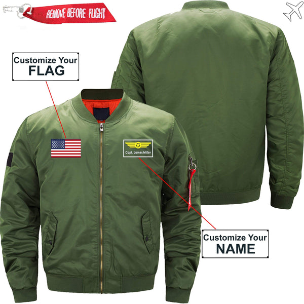 PilotX Jacket Black thick / S Custom Flag & Name with Badge 2 Designed Pilot Jackets -US Size