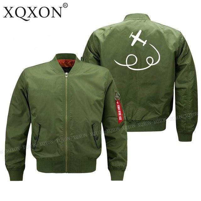PilotX Jacket Army green thin / S personality airplane design Jacket -US Size