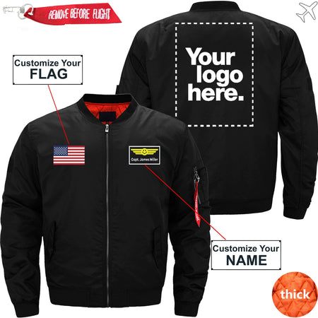 PilotX Jacket Dark blue thick / S Custom Flag, Logo & Name with Badge Designed Jacket -US Size