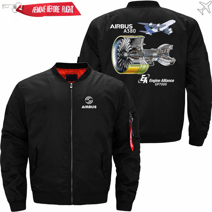 PilotX Jacket Black thin / S AIRBUS A380 GP7000 ENGINE Jacket -US Size