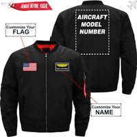 CUSTOM FLAG & NAME WITH AIRCRAFT MODEL NUMBER JACKET