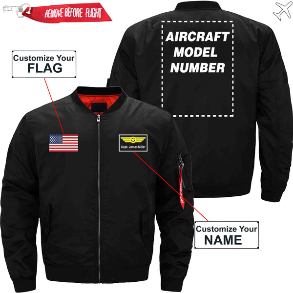 PilotX Jacket Black thin / S Custom Flag & Name with Aircraft Model Number Jacket -US Size