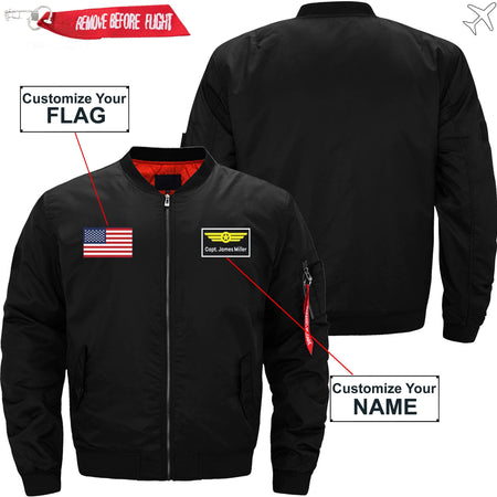 PilotX Jacket Black thin / S Custom Flag & Name with Badge 2 Designed Pilot Jackets -US Size