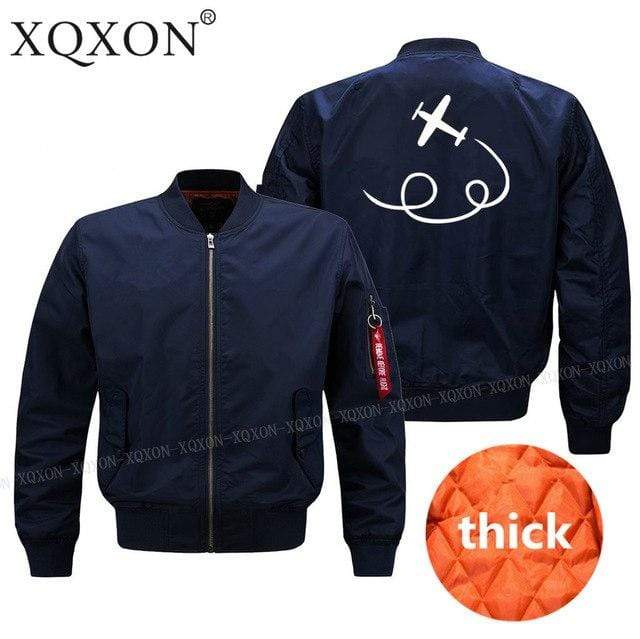 PilotX Jacket Dark blue thick / S personality airplane design Jacket -US Size