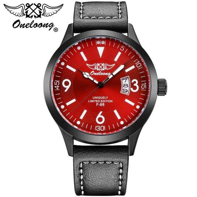 PilotX Red F-88 Air Fighter Pilot Watch