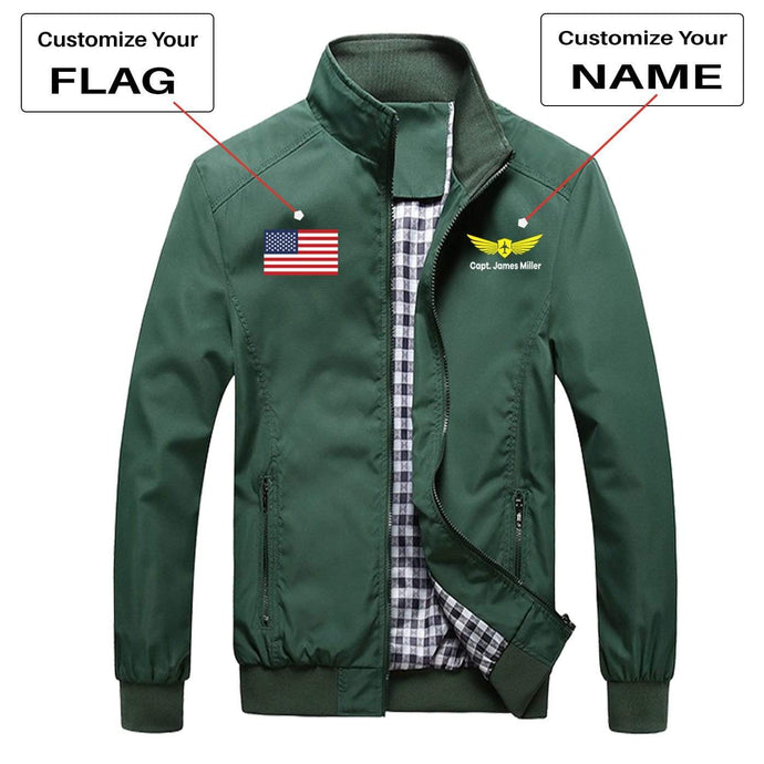 PilotX Summer Jacket Army green / S CUSTOM FLAG & NAME WITH BADGE 2 DESIGNED PILOT JACKETS