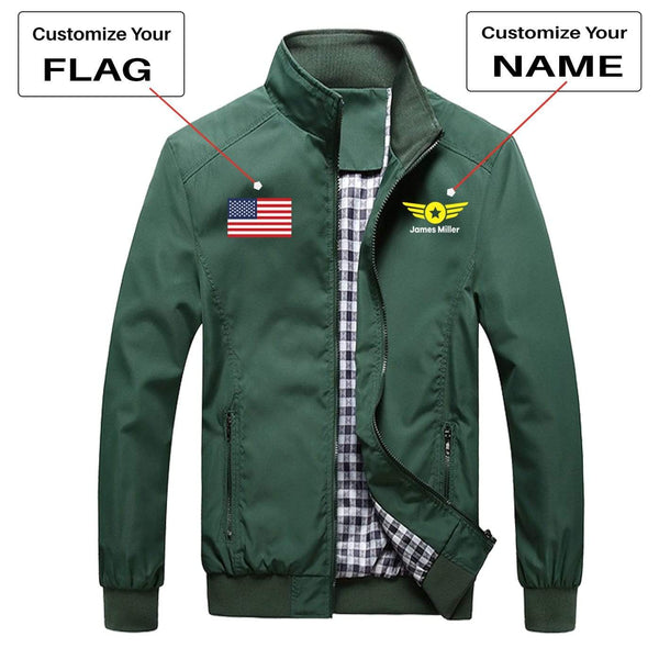 PilotX Summer Jacket Army green / S CUSTOM FLAG & NAME WITH BADGE 4 DESIGNED PILOT JACKETS