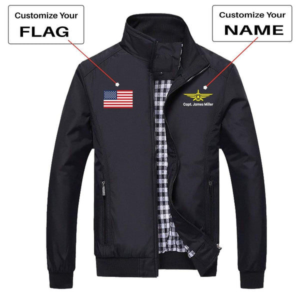 PilotX Summer Jacket Black / S CUSTOM FLAG & NAME WITH BADGE 3 DESIGNED PILOT JACKETS