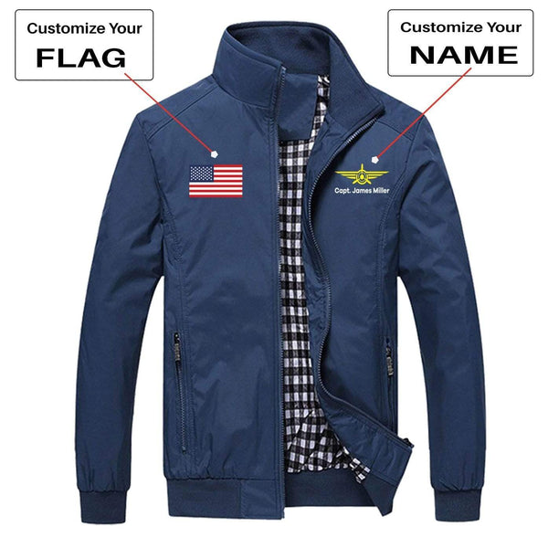 PilotX Summer Jacket Army green / S CUSTOM FLAG & NAME WITH BADGE 3 DESIGNED PILOT JACKETS
