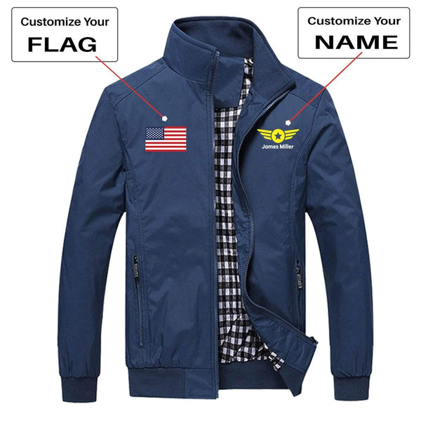 PilotX Summer Jacket Black / S CUSTOM FLAG & NAME WITH BADGE 4 DESIGNED PILOT JACKETS