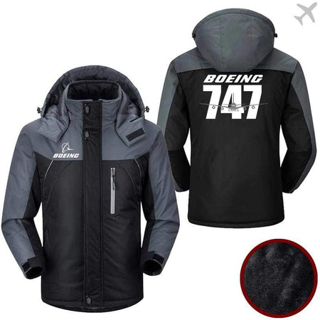 PilotX Windbreaker Jackets Black Gray / M Boeing-747 Jacket