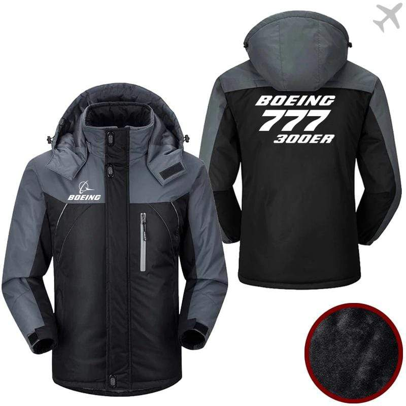 PilotX Windbreaker Jackets Black Gray / M Boeing 777-300ER Jacket