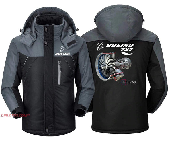 PilotX Windbreaker Jackets Black Gray / S Boeing 737 Cfm56 Engine Jacket