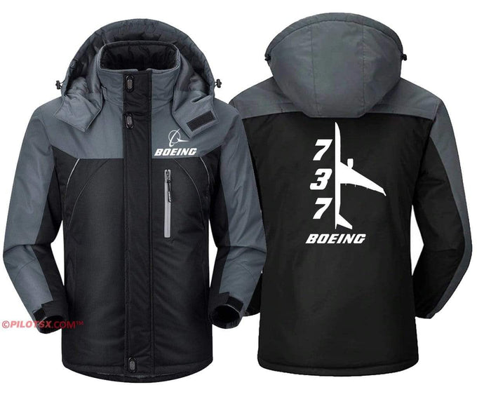 PilotX Windbreaker Jackets Black Gray / S Boeing 737 Side View Jacket