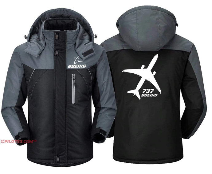 PilotX Windbreaker Jackets Black Gray / S Boeing 737 Views Jacket