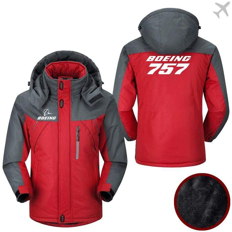 PilotX Windbreaker Jackets Red Gray / M Boeing-757 Jacket -US Size