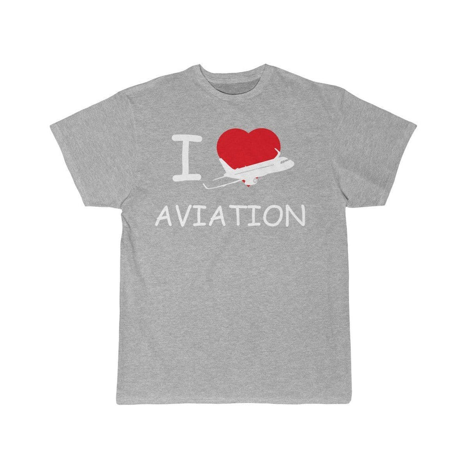 Printify T-shirt Athletic Heather / S I LOVE AVIATION
