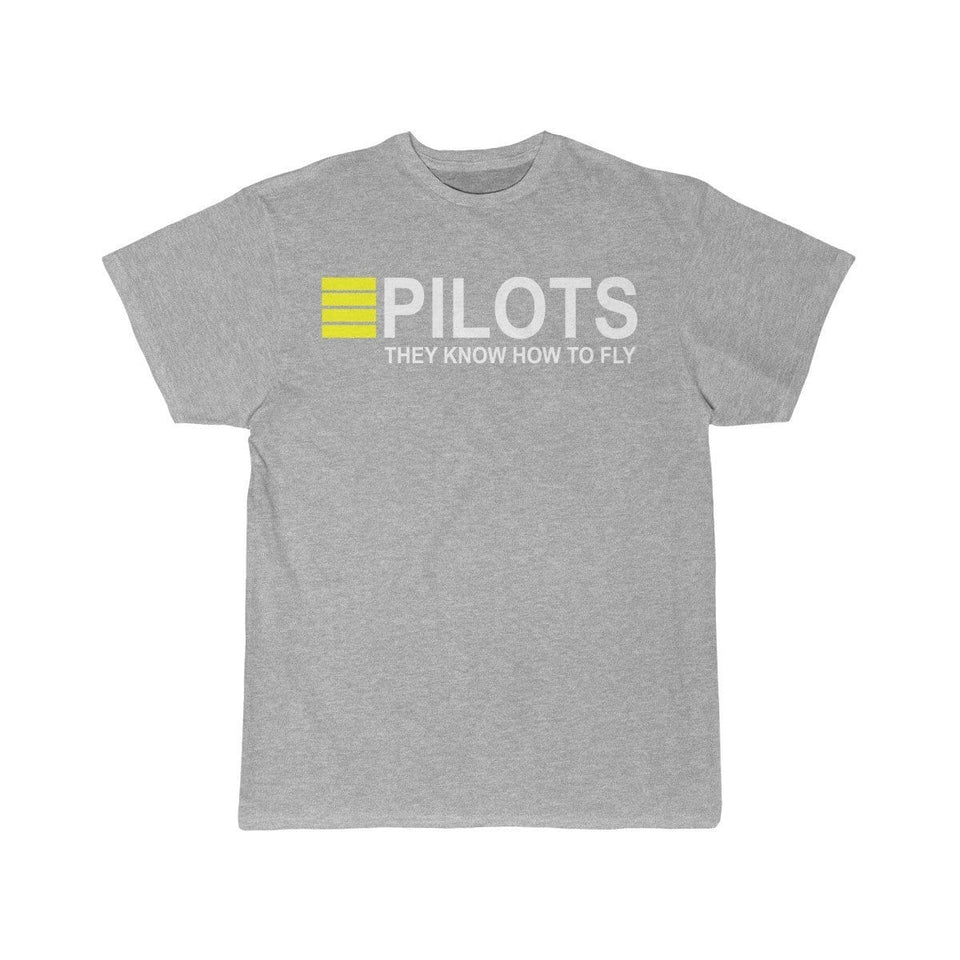 Printify T-shirt Athletic Heather / S PILOTS THEY KNOW HOW TO FLY PRINTED