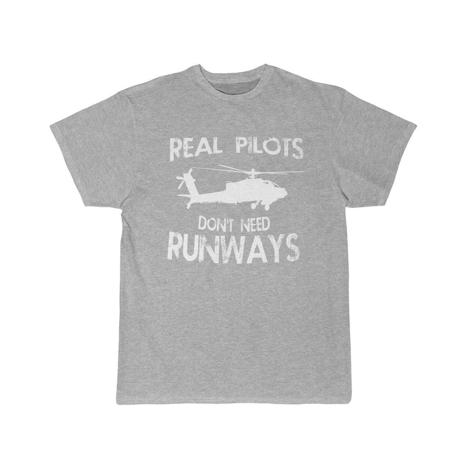 Printify T-shirt Athletic Heather / S Real Pilots Don't Need Runway