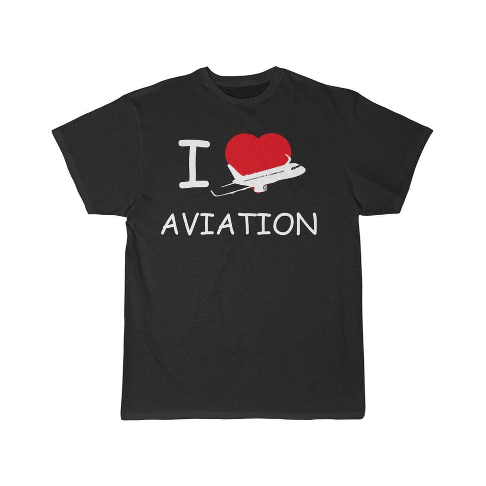 Printify T-shirt Black / L I LOVE AVIATION