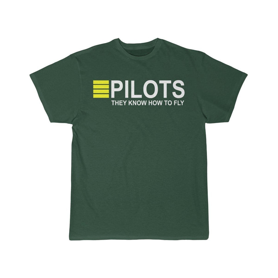 Printify T-shirt Forest / S PILOTS THEY KNOW HOW TO FLY PRINTED