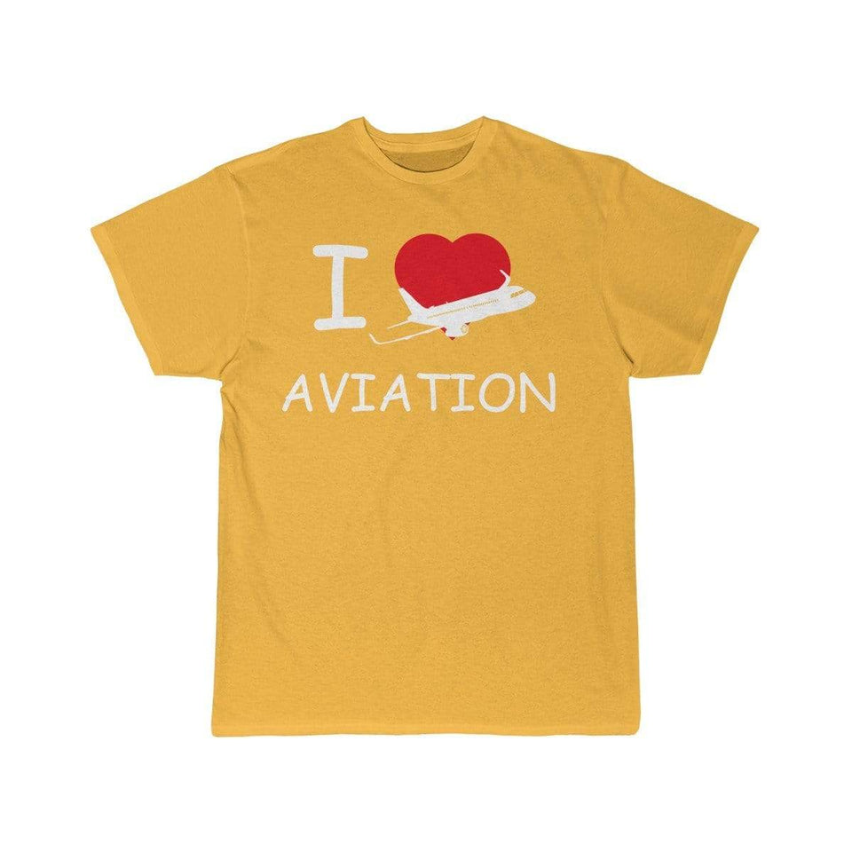 Printify T-shirt Gold / S I LOVE AVIATION