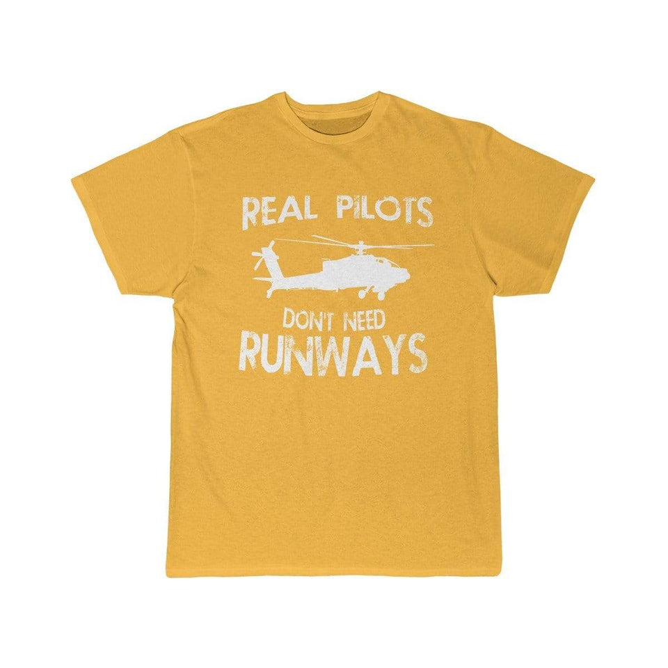 Printify T-shirt Gold / S Real Pilots Don't Need Runway