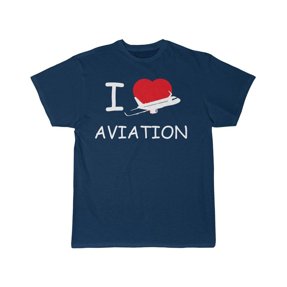 Printify T-shirt Navy / S I LOVE AVIATION