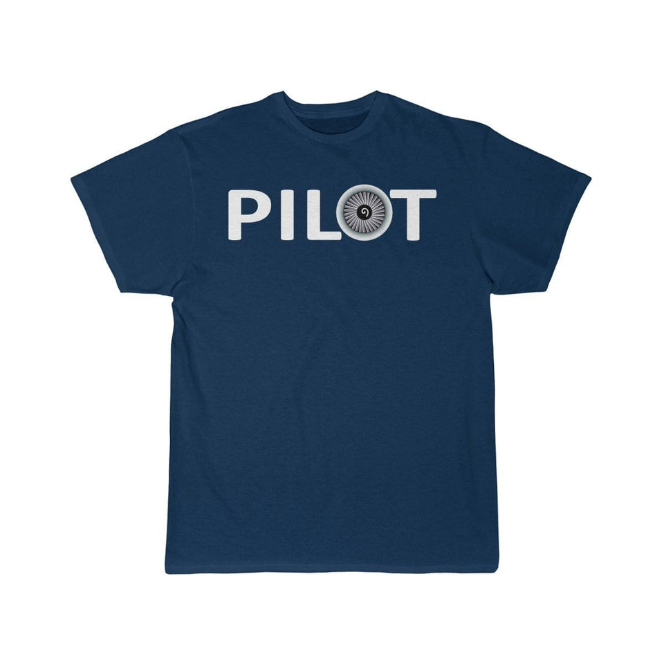 Printify T-shirt Navy / S PILOT (JET ENGINE) DESIGNED
