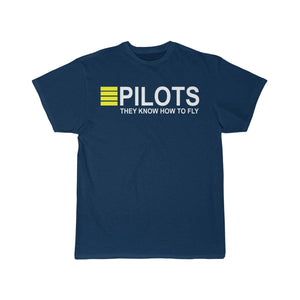 Printify T-shirt Navy / S PILOTS THEY KNOW HOW TO FLY PRINTED