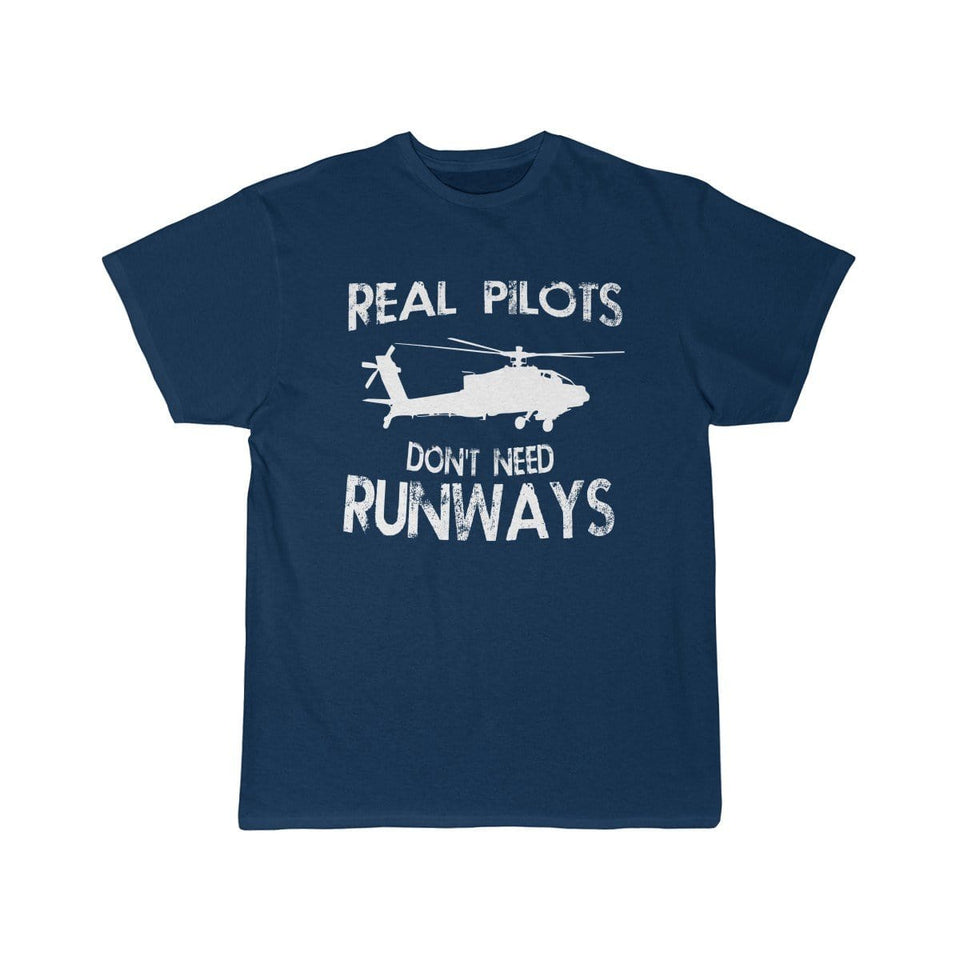 Printify T-shirt Navy / S Real Pilots Don't Need Runway