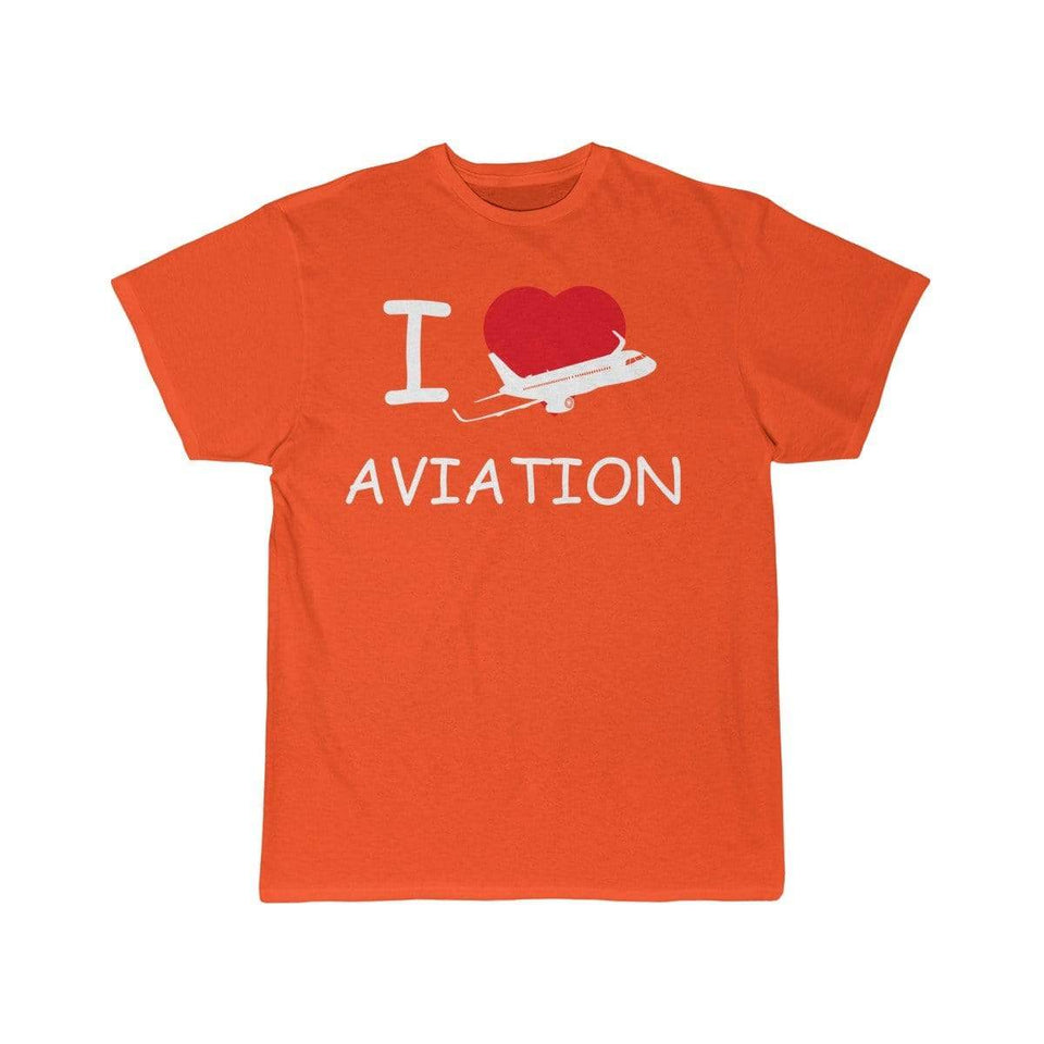 Printify T-shirt Orange / S I LOVE AVIATION