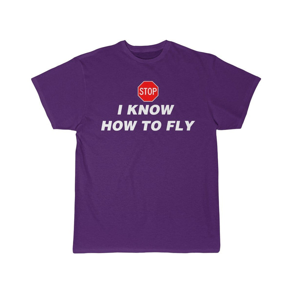 Printify T-shirt Purple / S I know how to fly