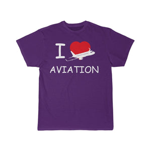 Printify T-shirt Purple / S I LOVE AVIATION