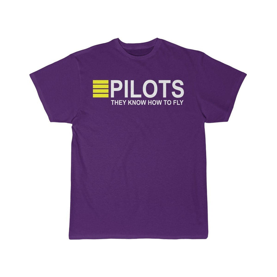 Printify T-shirt Purple / S PILOTS THEY KNOW HOW TO FLY PRINTED