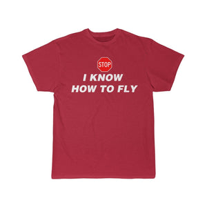 Printify T-shirt Red / S I know how to fly