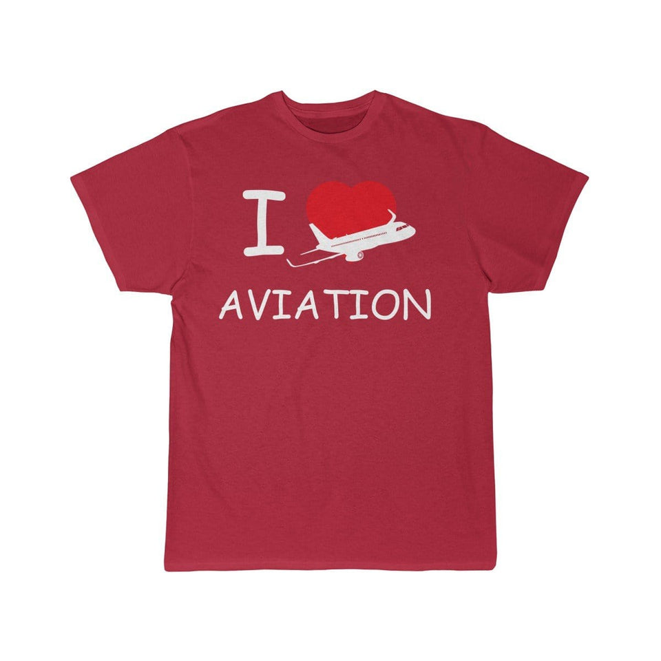 Printify T-shirt Red / S I LOVE AVIATION