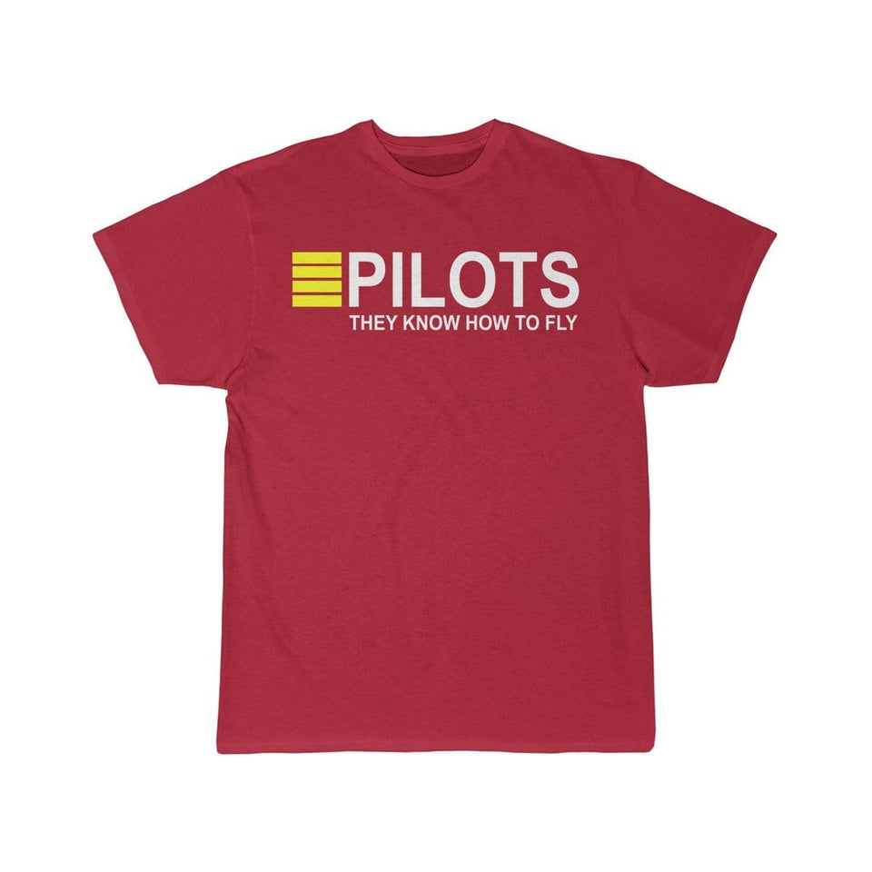 Printify T-shirt Red / S PILOTS THEY KNOW HOW TO FLY PRINTED