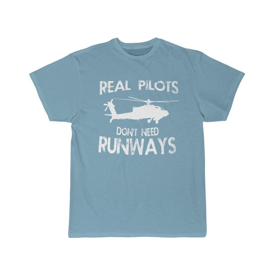 Printify T-shirt Sky Blue / S Real Pilots Don't Need Runway
